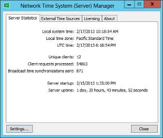 Network Time System - NTP Time Server software for Windows